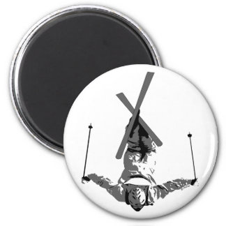 Freestyle Skiing 6 Cm Round Magnet