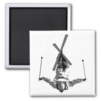 Freestyle Skiing Square Magnet