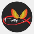 Freethinking Fish Symbol Classic Round Sticker