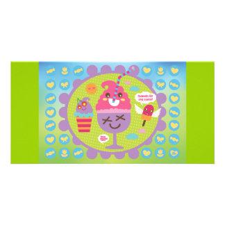 FreeVector-Ice-Cream-Cartoons cute kawaii graphics Personalised Photo Card