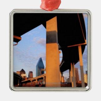 Freeway Overpass in Dallas 2 Silver-Colored Square Decoration