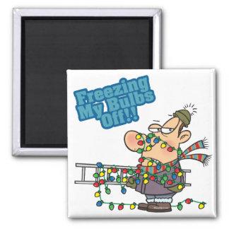 freezing my bulbs off xmas lights funny cartoon square magnet