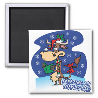 freezing my nipples off funny xmas cow refrigerator magnets