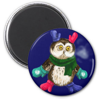 Freezing owl 6 cm round magnet