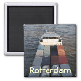 Freight ship on the Meuse, Rotterdam Square Magnet