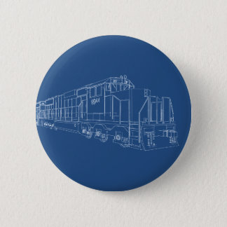 Freight Train Blueprint: Railroad: 6 Cm Round Badge