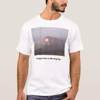 Freight Train Running in Morning Fog T-Shirt