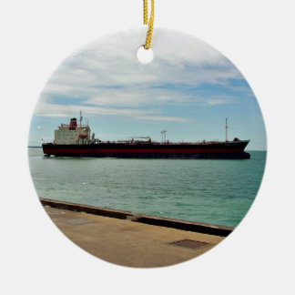 Freighter ship sailing on sea christmas ornament