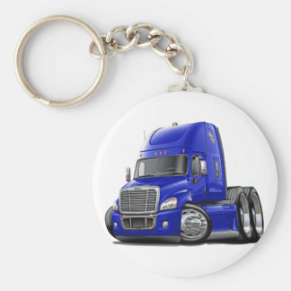 Freightliner Cascadia Blue Truck Basic Round Button Key Ring