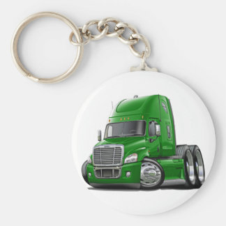 Freightliner Cascadia Green Truck Basic Round Button Key Ring