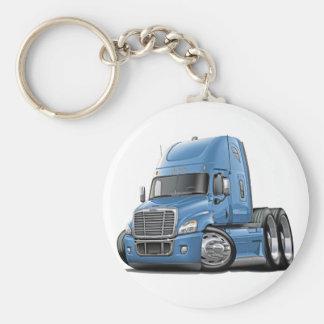 Freightliner Cascadia Lt Blue Truck Basic Round Button Key Ring