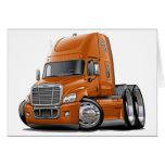 Freightliner Cascadia Orange Truck Greeting Cards
