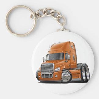 Freightliner Cascadia Orange Truck Basic Round Button Key Ring