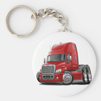 Freightliner Cascadia Red Truck Basic Round Button Key Ring