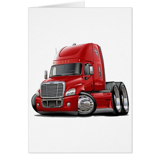 Freightliner Cascadia Red Truck Greeting Card