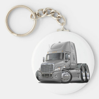 Freightliner Cascadia Silver Truck Basic Round Button Key Ring