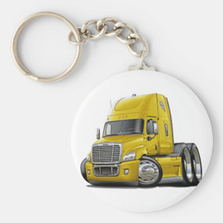 Freightliner Cascadia Yellow Truck Basic Round Button Key Ring