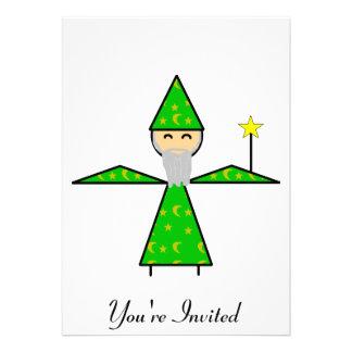 Freindly Green Stick Wizard Custom Invitation