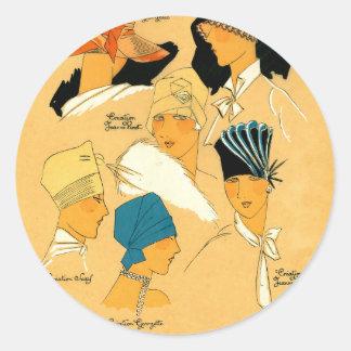 french 1920s women elegant stylish hats classic round sticker