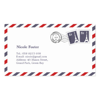 French Airmail with Stamps Business Card Templates