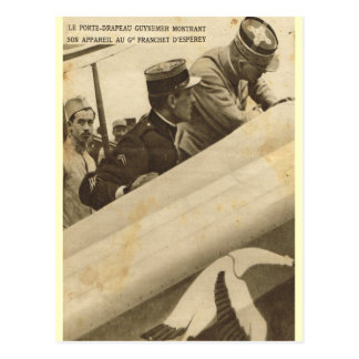 French airman and his plane postcard