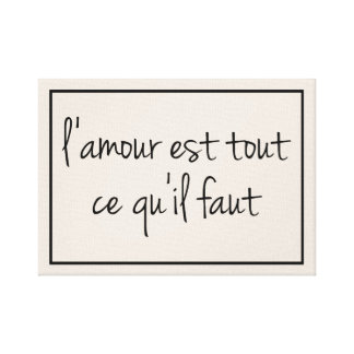 French All You Need is Love Canvas Print