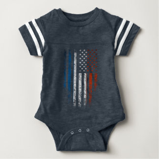 French American Flag Grunge Baby Bodysuit
