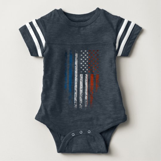 French American Flag Grunge Baby Bodysuit