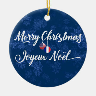 French American Holiday Decoration, Joyeux Noel Christmas Ornament