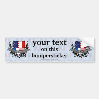 French-American Shield Flag Car Bumper Sticker