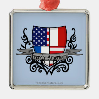French-American Shield Flag Christmas Ornament