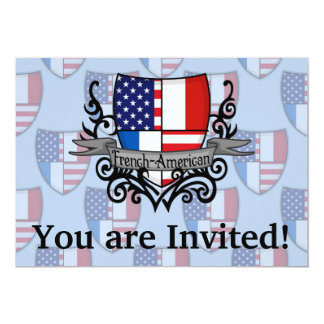 French-American Shield Flag 5x7 Paper Invitation Card