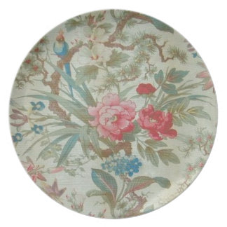 French Antique Toile Bird and Flowers Plate