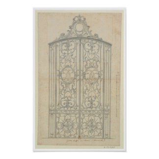 French Architectural Drawing Poster