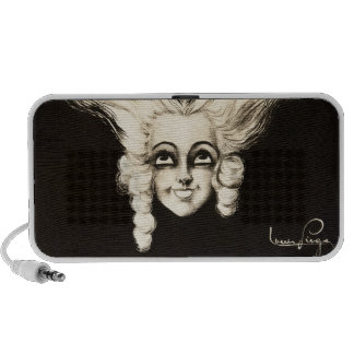 French Aristocrat Wig Hair Vintage 1920s Art Laptop Speaker