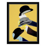 French Art Deco Vintage poster 3 Hats Posters