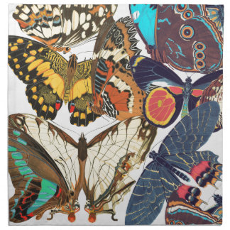 French Art Nouveau Butterflies Cloth Napkins