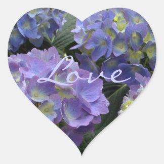 French Baby Blue Hydrangeas Heart Sticker
