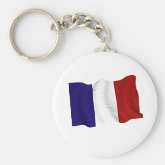 french basic round button key ring