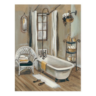 French Bathroom with Bathtub Postcard