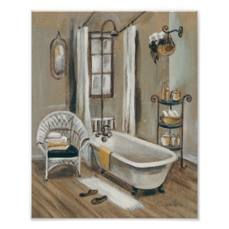 French Bathroom with Bathtub Poster