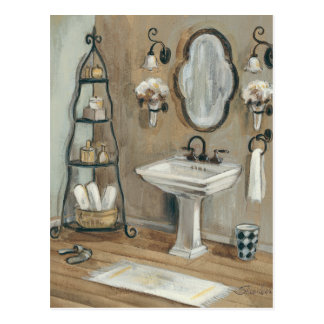 French Bathroom with Mirror and Sink Postcard