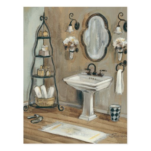 French Bathroom with Mirror and Sink Postcards