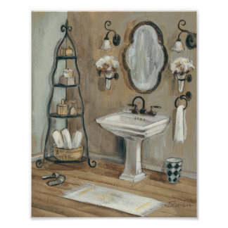 French Bathroom with Mirror and Sink Poster