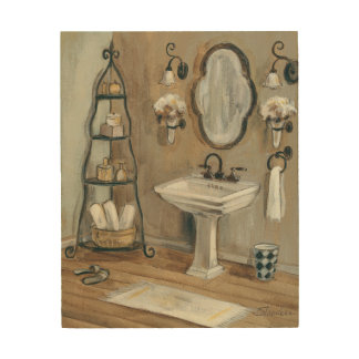 French Bathroom with Mirror and Sink Wood Wall Decor