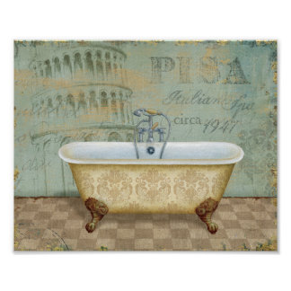 French Bathtub and the Leaning Tower of Pisa Print