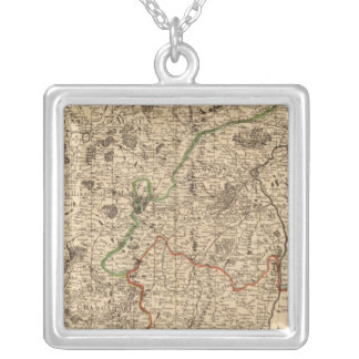 French battlefields and roads silver plated necklace