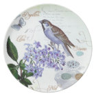 French Bird Floral Collage Vintage Look Plate