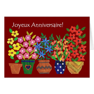 French Birthday Card - Flower Power