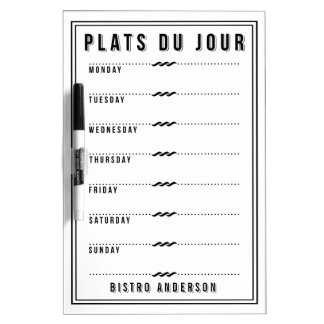 French Bistro Personalized Weekly Menu Dry Erase White Board